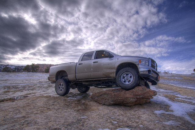 dodge on a rock