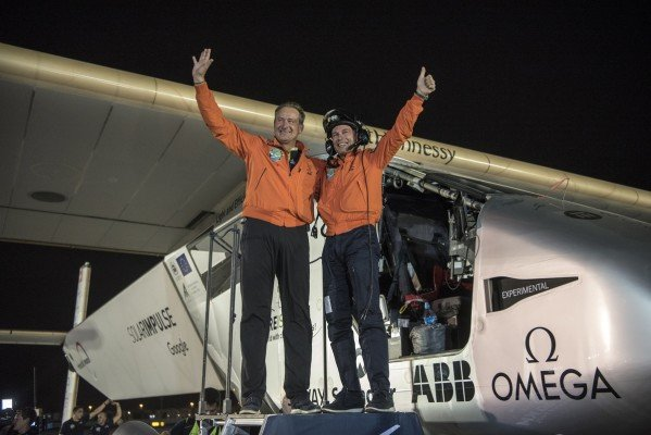Abu Dhabi, UAE, July 26th 2016: Solar Impulse successfully landed in Abu Dhabi with Bertrand Piccard at the controls, completing the last leg of the Round-The-World journey. Departed from Abu Dhabi on march 9th 2015, the Round-the-World Solar Flight took more than 500 flight hours and covered 40'000 km. Swiss founders and pilots, Bertrand Piccard and André Borschberg aim to demonstrate how pioneering spirit, innovation and clean technologies can change the world. The duo took turns flying Solar Impulse 2, changing at each stop and will fly over the Arabian Sea, to India, to Myanmar, to China, across the Pacific Ocean, to the United States, over the Atlantic Ocean to Southern Europe or Northern Africa before finishing the journey by returning to the initial departure point.