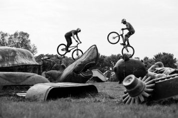 Mountain Bikers Take Trials Riding to Peculiar Setting