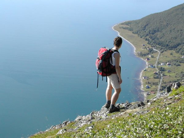 hiker on cliff